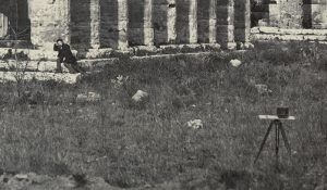 Giorgio Sommer, Giorgio Sommer with his Stereo Camera in Front of the Basilica Pesto, 1870, Naples, Vintage Albumen Print