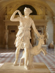 "Artemis with a doe, called the ""Diana of Versailles."" Roman, Imperial (1st-2nd century CE) copy of Greek statue attributed to Leochares, ca 325 BCE. Marble. Musée du Louvre, Paris, France."