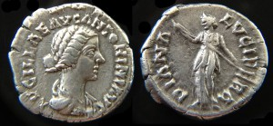 Denarius depicting Lucilla, daughter of Marcus Aurelius on the obverse and Diana Lucina holding a torch on the reverse. Minted between 164-183 CE.