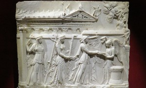 Apollo, Diana, and Latona at a sacrifice with Victoria. Marble relief, ca. 30 BCE. The temple in the background is possibly referring to Octavian's temple to Apollo on the Palatine hill.