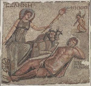 Selene driving the bull-drawn biga, raising a lit torch that illuminates the sleeping Endymion - from Roman period, circa 3th c. CE