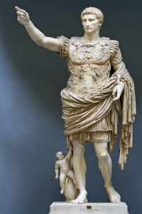 """Augustus of Prima Porta. Early first century CE. Painted marble. 6'8"""" in height. Musei Vaticani, Rome."""