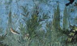 """Detail of Gardenscape showing cypress trees, Second Style wall paintings, from the Villa of Livia, Primaporta, Italy, ca. 30-20 BCE. Fresco, 6'7"""" high. Museo Nazionale Romano - Palazzo Massimo alle Terme, Rome."""