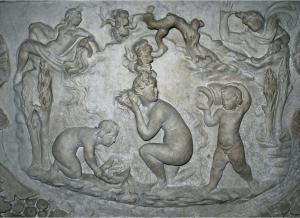 Diana Bathing. Detail of Actaeon Sarcophagus. 1st century CE. Musée du Louvre, Paris, France.
