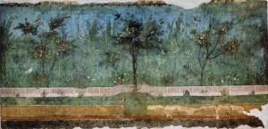 "Gardenscape, Second Style wall paintings, from the Villa of Livia, Primaporta, Italy, ca. 30-20 BCE. Fresco, 6'7"" high. Museo Nazionale Romano - Palazzo Massimo alle Terme, Rome."