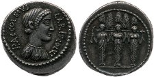 Denarius of P. Accoleius Lariscolus depicting Diana Nemorensis; on reverse the triple cult statue of Diana Nemorensis supporting a beam with five cypress trees. Minted in 43 BCE. British Museum.