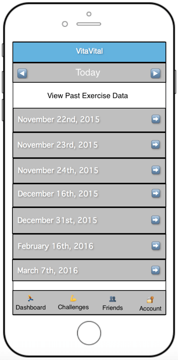 Smartphone screen for viewing past exercises, dates visible are Nov 22-24, Dec. 16 and 31, Feb 16 , and March 7