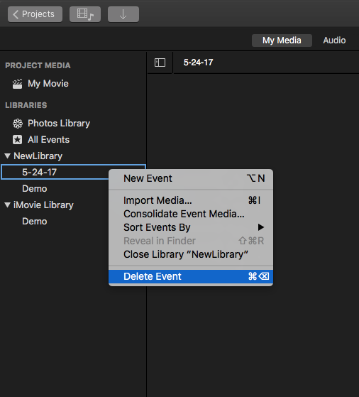 how to save imovie projects to external drive