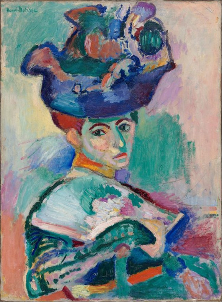 1. What features of this portrait stand out? 2. How do you think Matisse felt about the woman in the portrait? 3. If you discovered that the woman was Matisse's wife, how would that affect your understanding of the painting? 4. Is this painting beautiful? Is Mme. Matisse beautiful? Does that matter?