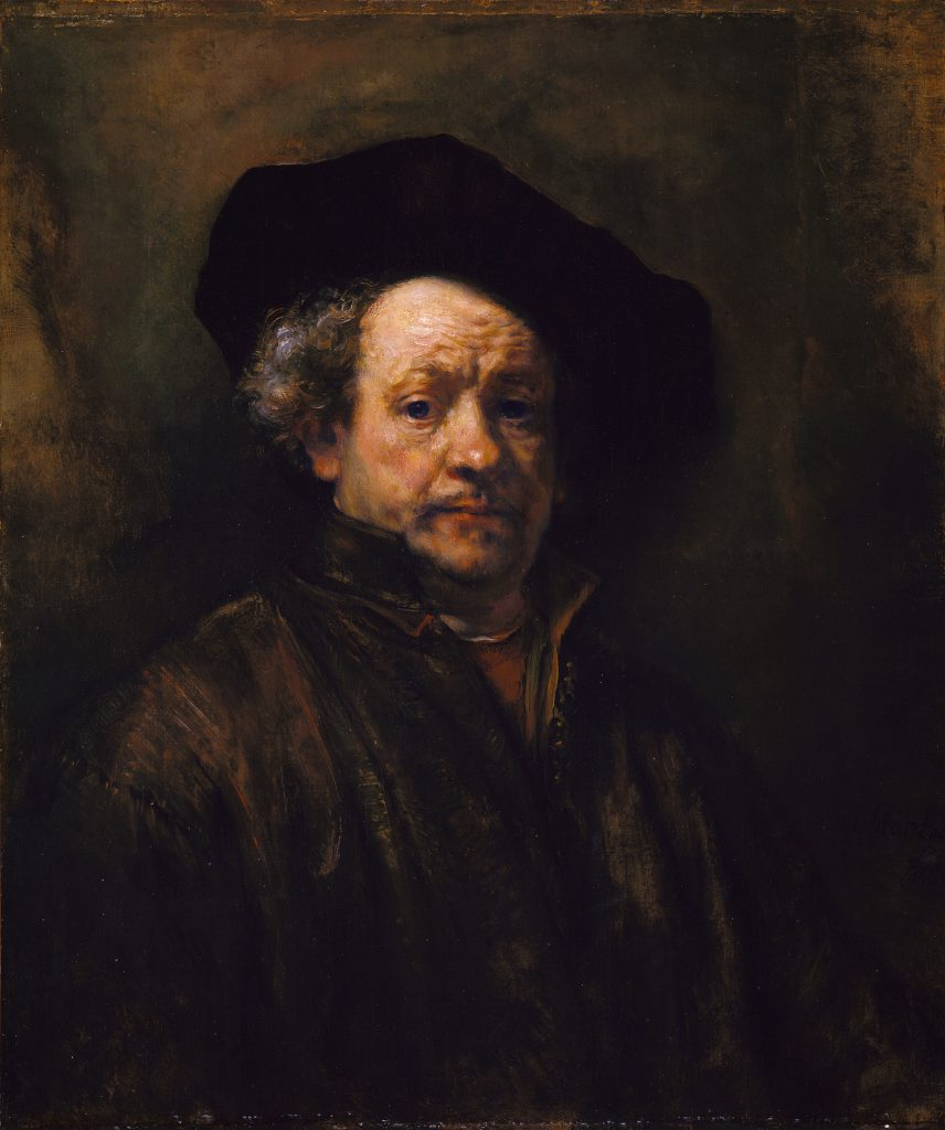 1. What features of this self-portrait stand out for you? 2. What expression does Rembrandt have in the portrait? 3. Is this portrait beautiful?