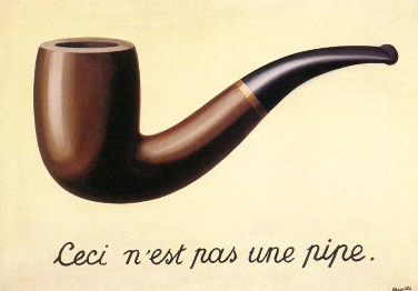 """1.The text in this painting is written in French. It says, """"This is not a pipe."""" That seems paradoxical since the image above it is of a pipe. Can you think of a way to interpret the statement that makes it true? What interpretation would make it false? 2. How many different things could the word """"this"""" refer to? When you interpret the """"this"""" in those ways, is the painting saying something true or false? 3. The image of the pipe is very realistic. Would it change the way you view the painting if the pipe was obviously drawn, say as a young child would? 4. Why do you think the painting is titled, """"The Treachery of Images""""?"""