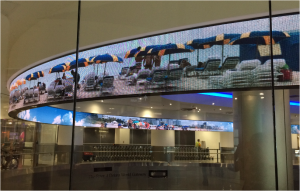 Image of Huge scrolling digital display – Miami International Airport.