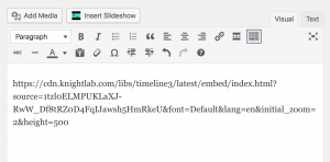 image of the Timeline JS url in the WordPress editing box.